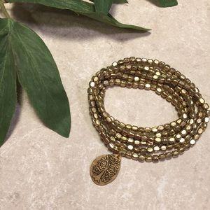 Jewelry - Gold elastic beaded Bracelet / necklace tree charm